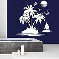 Ansyny 浴室の壁デカールセイルフィッシュシービーチウォールステッカー取り外し可能なヤシの木サンセット壁紙航海テーマ家の装飾43 * 42センチ