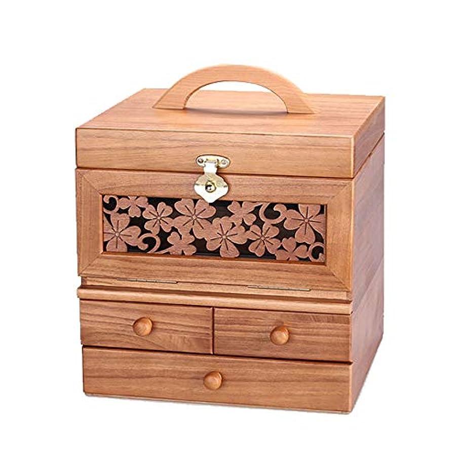 リラックスした残高降臨Rouling メイクボックス コスメボックス 化粧ボックス コンパクト 三面鏡 化粧box 化粧箱 化粧小物 化粧道具入れ メイク 天然木 完成品 (BROWN)