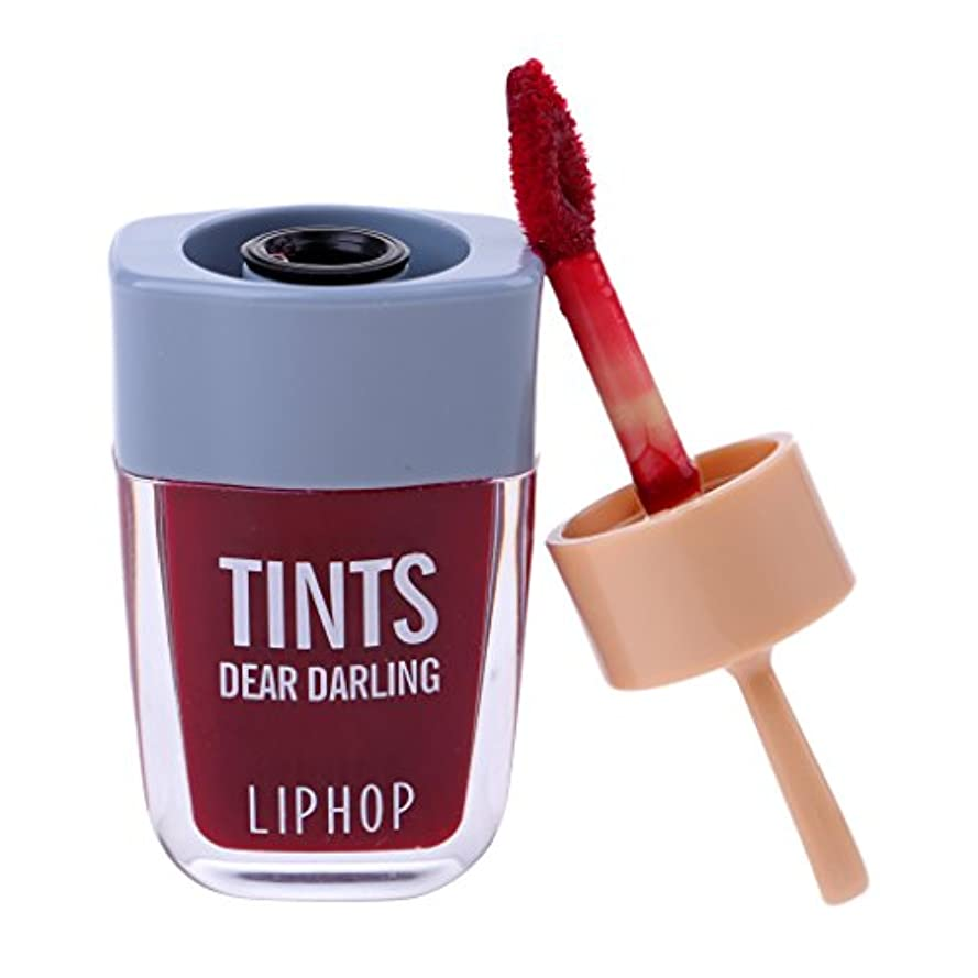 パパ移植通りリップグロス 口紅 長持ち 防水 マット メイクアップ 唇メイク カラーメイク 6色選べる - ワインレッド