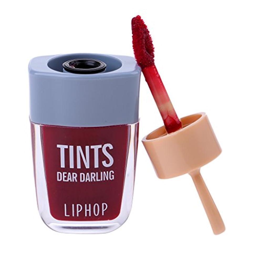 除去置くためにパックアレイリップグロス 口紅 長持ち 防水 マット メイクアップ 唇メイク カラーメイク 6色選べる - ワインレッド