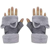 Women Girls Winter Warm Fingerless Gloves Cartoon Cat Ears Fleece Lining Suede Mittens