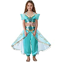Pettigirl Girls Blue Sequin Classic Princess Dress Up Costume Outfit 4-7 Year