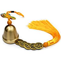 (Gold) - Lalago Chinese Feng Shui Bell for Wealth and Safe, Pendant Coins for Success, Ward off evil, Protect Peace - Also Can Used As Wind Chimes, Car Interiors (Gold)