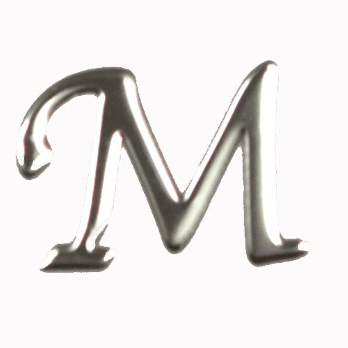 乳製品統計初心者アルファベット 薄型メタルパーツ 20枚 /片面仕上げ イニシャルパーツ SILVER (M / 5x7mm)