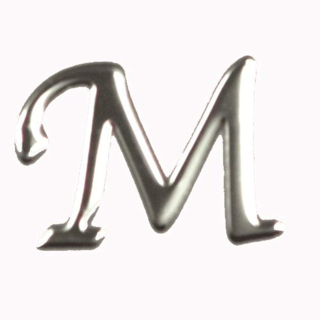 プロットパイント判読できないアルファベット 薄型メタルパーツ 20枚 /片面仕上げ イニシャルパーツ SILVER (M / 5x7mm)