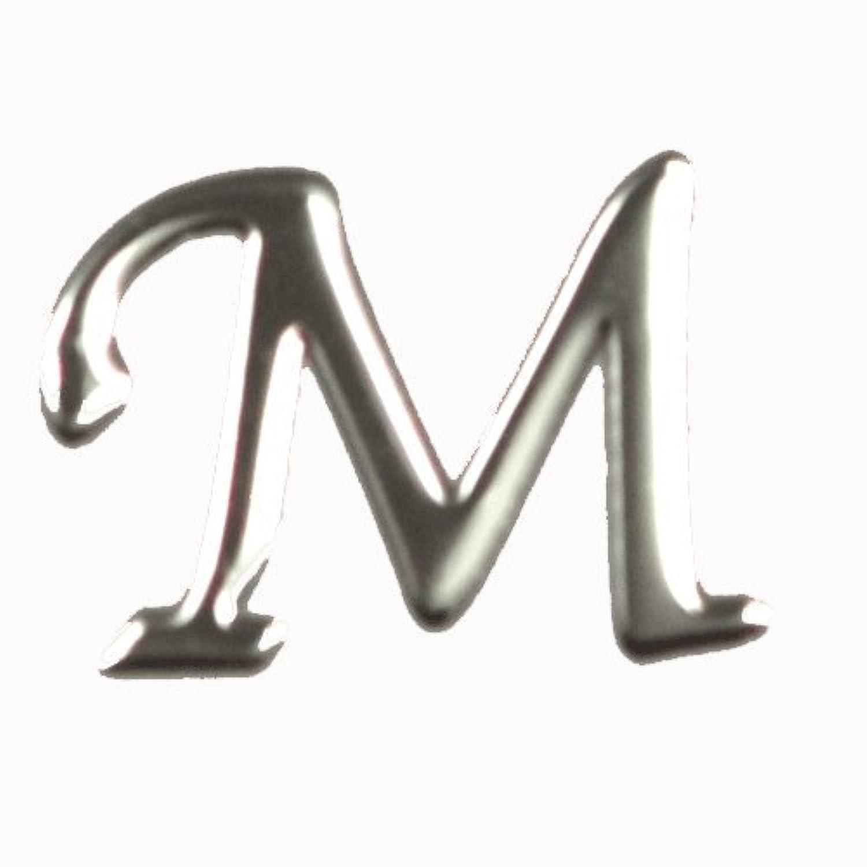 サッカーライン自由アルファベット 薄型メタルパーツ 20枚 /片面仕上げ イニシャルパーツ SILVER (M / 5x7mm)