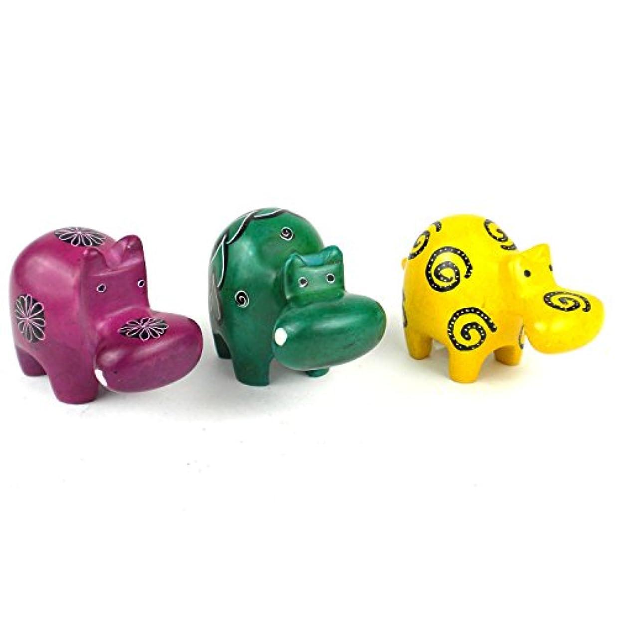 別の端末敗北Smolart Mini Handcrafted Soapstone Hippos, Set of 3