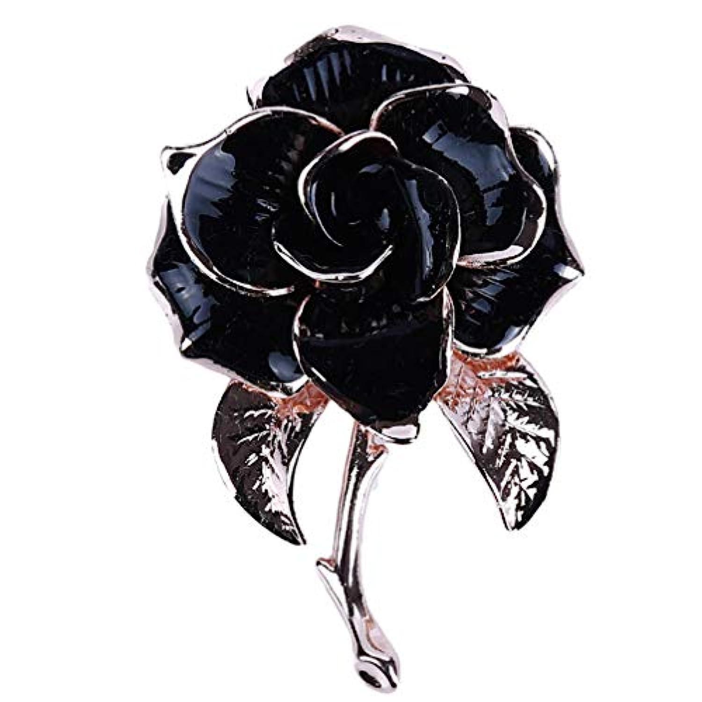 Toporchid 高級椿ブローチファッションパーティーレディースウェディングジュエリー(ブラック)