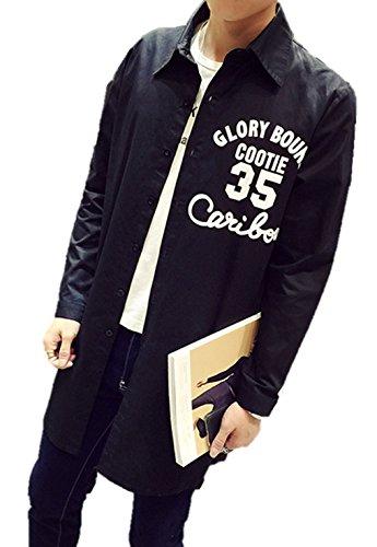 メンズ トップス ロングシャツ ナンバーロゴ シンプル アメカジ カジュアル ロング丈 ロゴ入り ロゴプリント 英字 シャツ ラペルシャツ おしゃれ 綿シャツ ジャケット コットン 長袖 フロントジッパー 黒 K9302 (L)