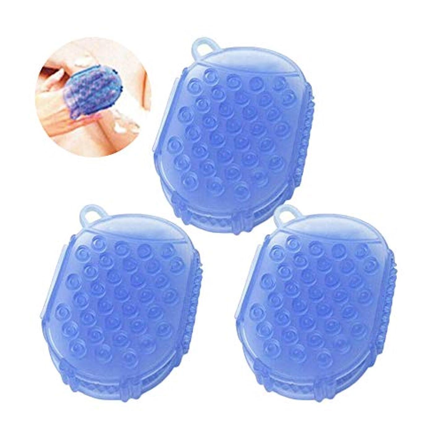 ペイント眠るバーストRAYNAG 3個 ボディブラシ マッサージブラシ お風呂ブラシ 体洗い 角質除去 血行促進 新陳代謝を促進 美肌効果 毛穴 汚れ 除去 マッサージ ブラシ シャワー お風呂 両面用 10.5x7.5x2cm ランダムカラー