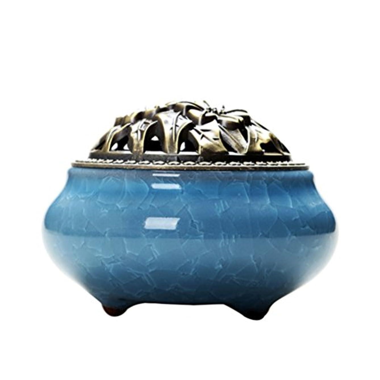 詩人皿動作WINOMO Cone Incense Burner with合金Calabash Incense Stick HolderセラミックIncense Ashキャッチャートレイボウル(スカイブルー)