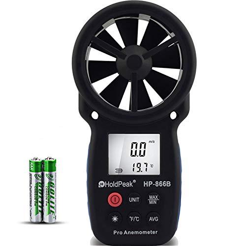 HOLDPEAK 866Bデジタル風速計、風力計 ハンドヘルド風速計、風量計LCDバックライト、データホールド、MAX/MIN機能付きドローン飛行、登山、釣りなどに適用