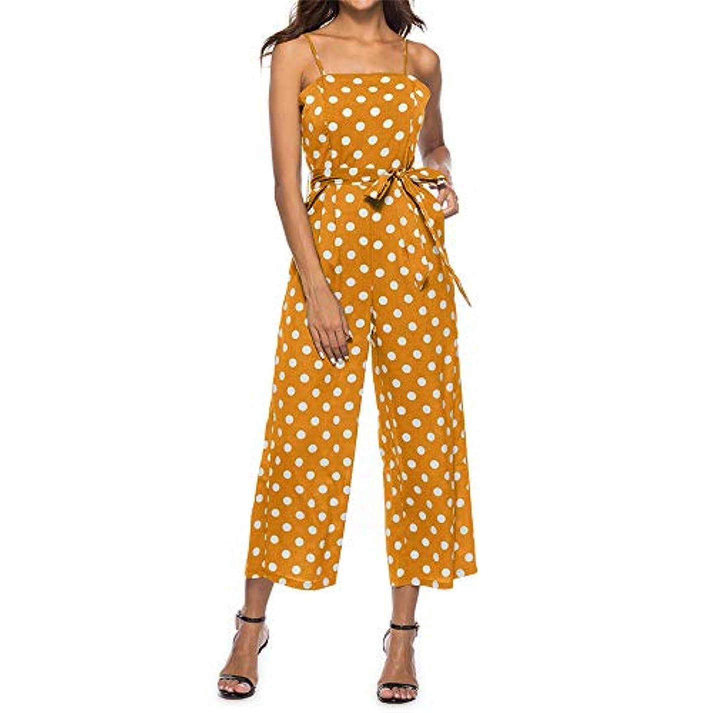 ランデブー薬チラチラする女性夏スパゲッティストラップノースリーブハイウエストベルトロングジャンプスーツロンパースカジュアル緩いポルカドットラウンジワイド脚パラッツォパンツブーツカットズボン (色 : 黄, サイズ : XL)