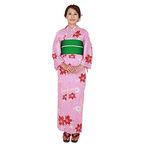 ゆかた屋hiyori 特選平織り浴衣-赤縦縞に百合 レディース 浴衣・帯・下駄3点セット