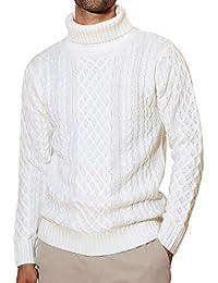 JIGGYS SHOP セーター メンズ ニット タートルネック ケーブル編み 厚手 長袖 防寒 ボーダー