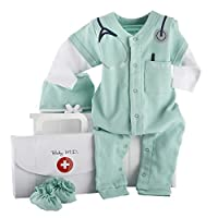 "Baby Aspen, Baby M.D. Three-Piece Layette Set in""Doctor's Bag"" Gift Box, 0-6 Months"