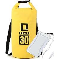LICLI ドライバッグ 防水 リュック ショルダー バッグ 5L 10L 20L 30L 大容量 おしゃれ 防水バッグ 「 バイク 釣り 海 ダイビング 海水浴 防災 」「 耐水 スマホケース 付 」「 ドラム型 袋 」 9色 4サイズ