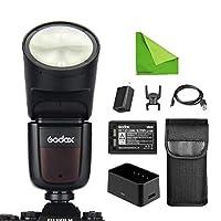 Godox V1-F Fujiカメラ対応 76Ws 2.4G TTLオンカメララウンドカメラフラッシュスピードライト1/8000 HSS 480フルパワーショット10レベルLEDモデリングランプ 写真、静物写真、結婚式の写真、イベントなどの撮影シーンに最適