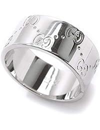 99c3178263ba グッチ GUCCI アイコン #18 リング M K18WG 18金ホワイトゴールド 750 指輪 ロゴ ワイド