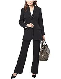 (ニッセン) nissen スーツ 大きいサイズ 上下 セット ジャケット + パンツ ストレッチ レディース 黒