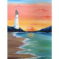 DIYクロスステッチキットダイヤモンド絵画5D塗装キット、灯台の海辺の日の出の風景WOWDECORフルドリルDIYダイヤモンドアートペイント数字油絵 (灯台)