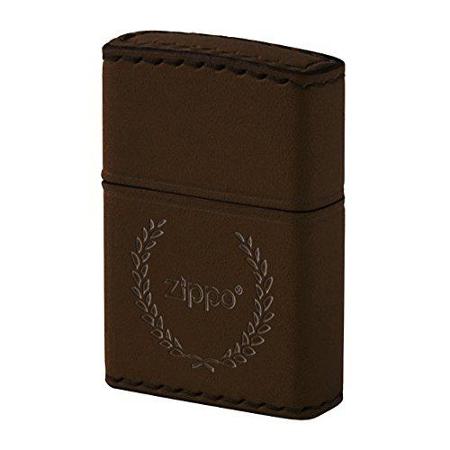 Zippo(ジッポ) ロゴ入り オイルライター NO200 本牛革 革巻き 手縫い ハンドメイド 月桂樹 ブラウン DB-7