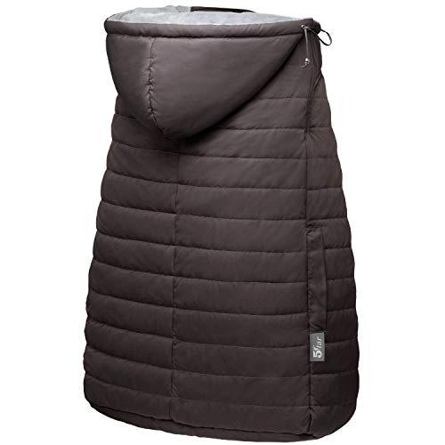 5Star 抱っこ紐ケープ 抱っこひもカバー 優れた撥水性 防寒 ケープ ベビーカー対応 保温性抜群 ベビーホッパー 収納袋付 取り付け簡単 日本語説明書付 (ブラウン)