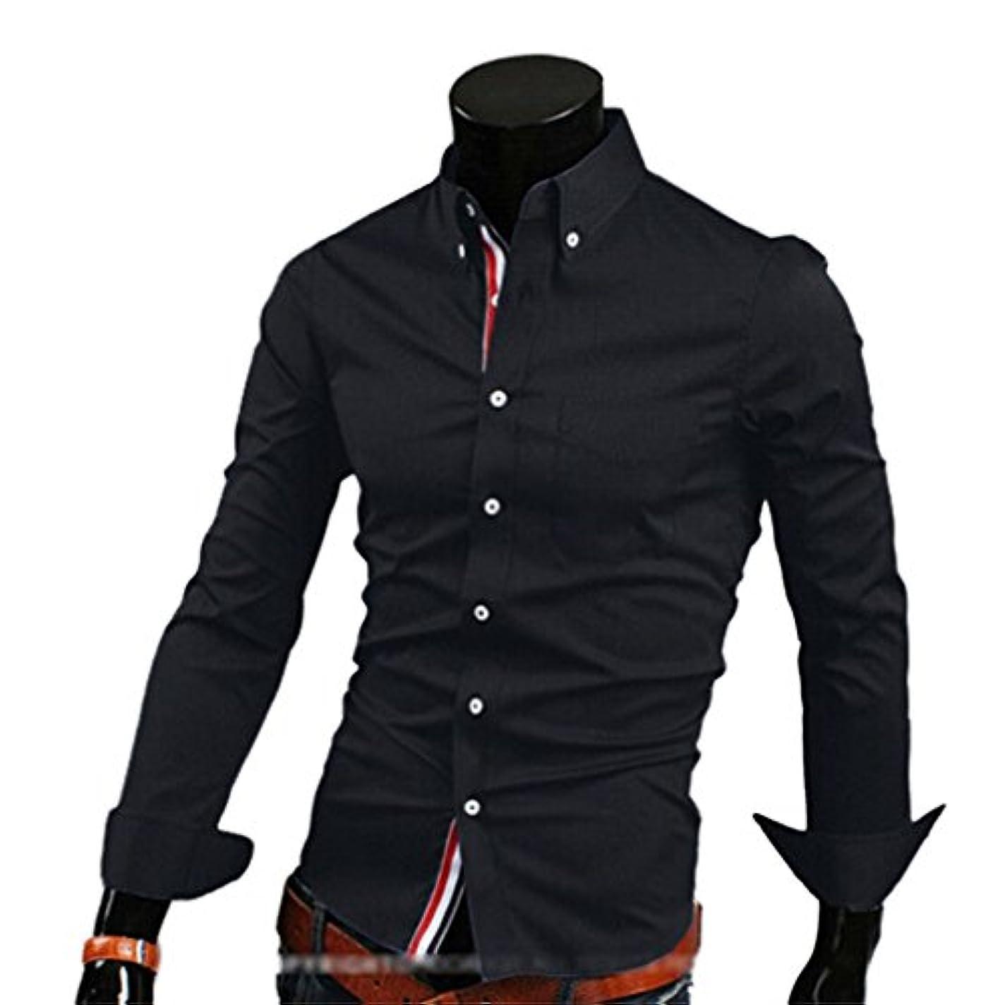 遺産呼ぶ角度Honghu メンズ シャツ 長袖  カジュアル織テープ シンプル ブラック 2XL 1PC