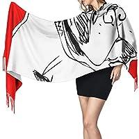 フレンチブルドッグワンラインデザイン451女性のスカーフファッションスカーフ暖かいラップショールケープクリスマスギフト用母ガールフレンドシスター
