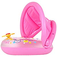 0?4歳の子供のための調節可能なキャノピー付きのベイビースイミングフロートボートインフレータブルプールフローティングおもちゃ。 (色 : Pink)
