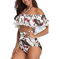 Heat Move Women Retro Flounce Off Shoulder High Waisted Bikini Halter Neck Crop Two Piece Swimsuit