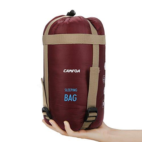 CAMTOA アウトドアシュラフ 寝袋 封筒型 シュラフ 超軽量 ミニ収納 キャンプシュラフ アウトドア キャンプ 登山 車中泊 丸洗い 収納袋付き ワインレッド