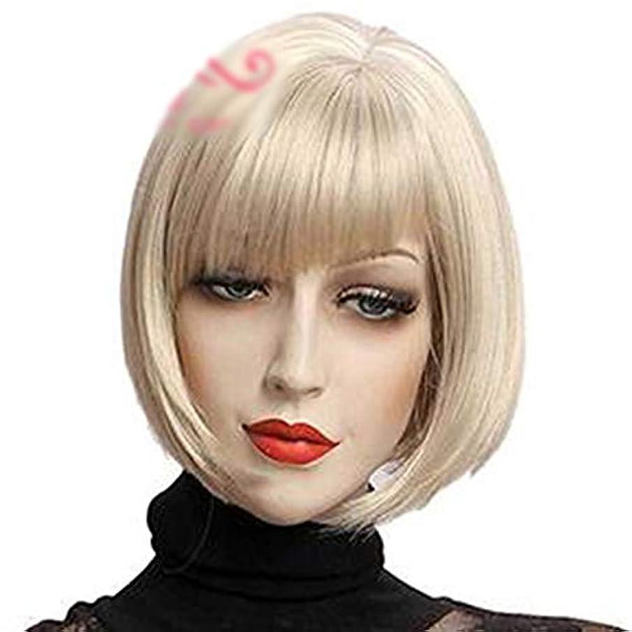 不当ペイントキャンペーンWASAIO 女性用ウィッグショートボブウィッグアッシュブロンドストレートヘア (色 : グレー)