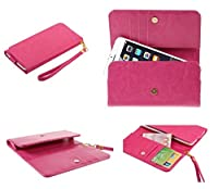 DFV mobile - Cover Premium Crazy Horse PU Leather Wallet Case with Card Slots for => Vkworld Discovery S1 > Pink