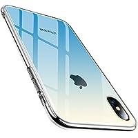 TORRAS iPhoneXケース 強化ガラスケース グラデーション 背面ガラス9H硬度+TPUバンパー 全面保護 アイホンX カバー 光学メッキ加工 おしゃれ キズ防止 ガラスフィルム付属 ストラップホール付き(グラデーションブルー)