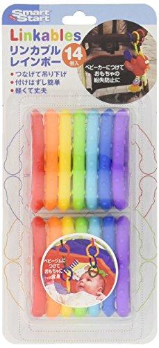 虹色C環リンカブル 歯がため&知育玩具&つなげて落下防止 14個入り