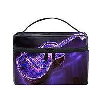 Purple Guitar化粧ポーチ 便利グッズ 旅行用ポーチ バッグインバッグ 収納バッグ ペンケース 筆記具 男女兼用