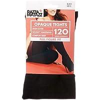 Razzamatazz Women's Pantyhose 120 Denier Full Figure Fit Opaque Tights, Black, XX-Tall