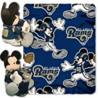 "ST LOUIS RAMS 40 "" x50 "" Mickey Mouse Infant Baby Blanket Hugger w / Fleece Throw ( NFL )ベビースポーツファン"