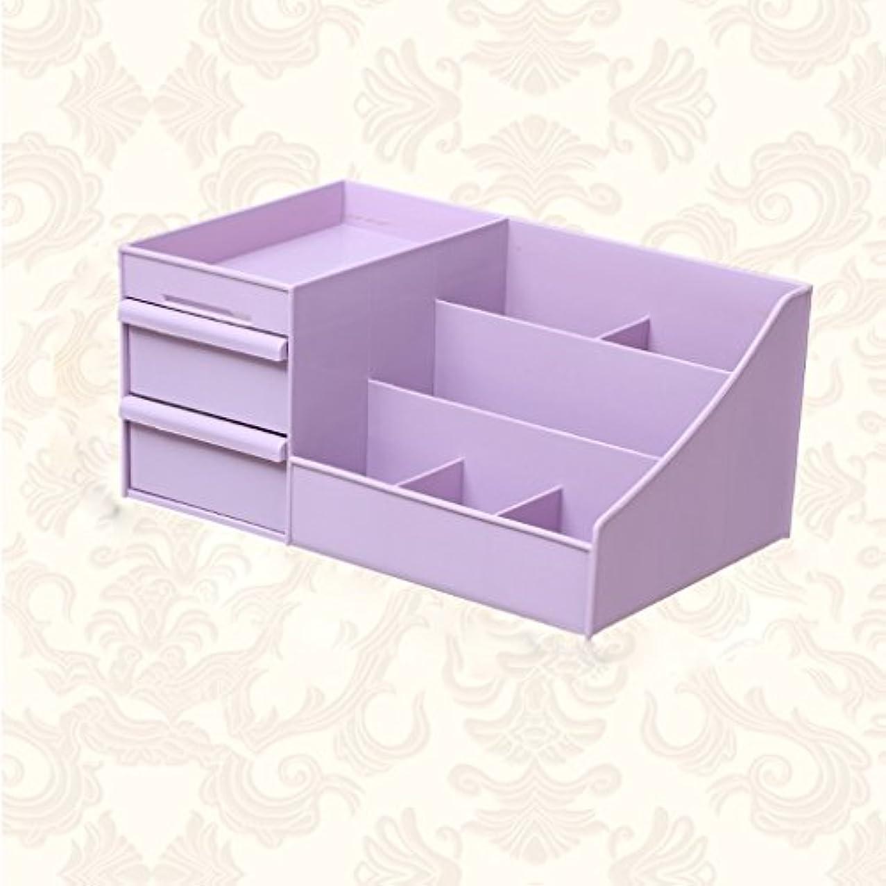 縁リール賞KTYXDE 化粧品収納ボックス女子学生寮デスクトップシンプル大化粧箱化粧台スキンケア製品ラック35.5×22×16センチ 薬収納ボックス (Color : Purple)