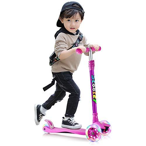 GOOGO キッズ スクーター 3輪 キックスクーター 子供用 キックボード 4段階調節可能 LED 光るホイール ブレーキ付き 対象年齢3歳以上 ギフトに最適(パープル)