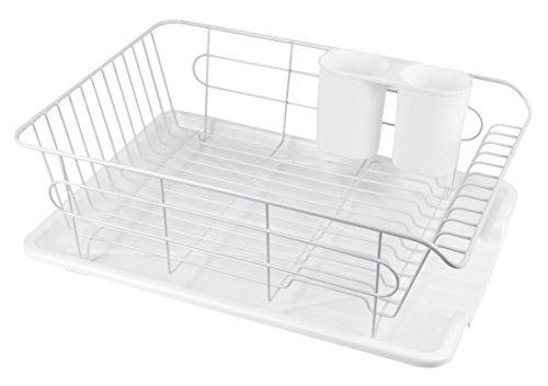 パール金属 食器 水切り かご 水が流れる トレー付 ヨコ置き タイプ ホワイト 白 アルデオ HB-3466