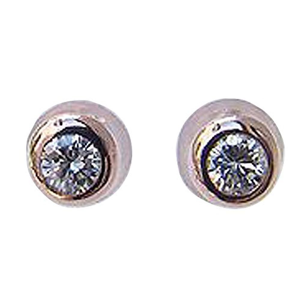 分注する外向き生む真珠の杜 メンズ ダイヤモンド ピアス K18PG ピンクゴールド