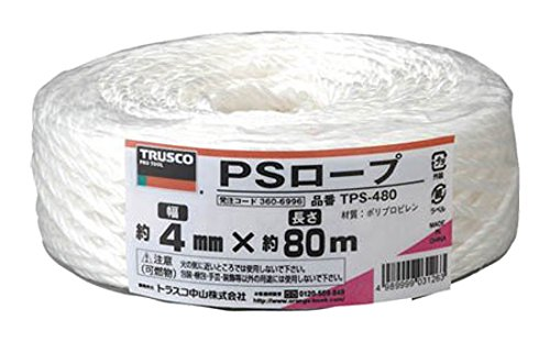 トラスコ中山 PSロープ 幅4mmX長さ80m 白 TPS-480 1セット 6個:1個×6巻 360-6996