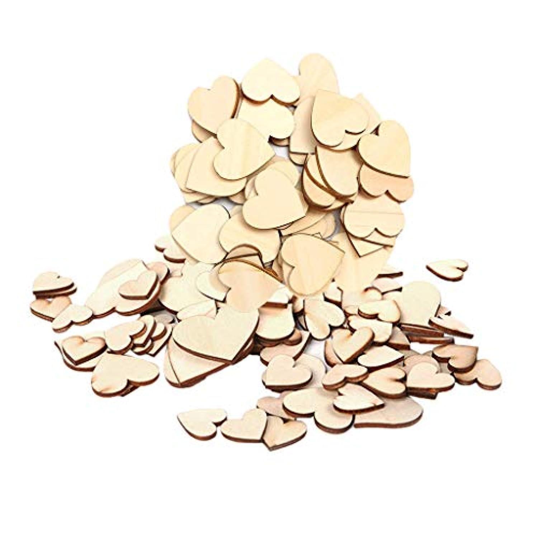 B Baosity 約130個 ミックスサイズ 心臓の形 工芸品 レトロ 装飾 かわいい 木製カード 贈り物