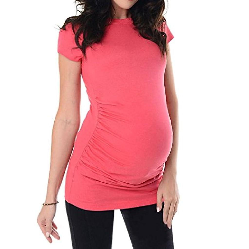 牛肉和アッパーSakuraBest Pregnant Women's Summer Short Sleeves Maternity Solid Long T Shirt