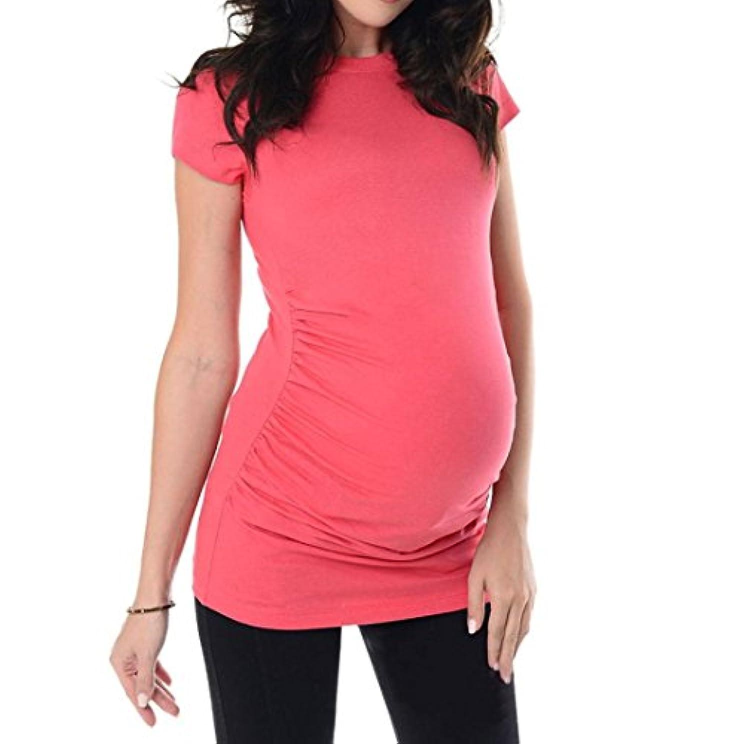 虫を数えるシロナガスクジラマルコポーロSakuraBest Pregnant Women's Summer Short Sleeves Maternity Solid Long T Shirt