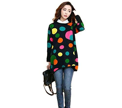 孕婦秋季和冬季的溫暖暖背孔毛衣針織上衣寬鬆約會孕婦裝秋冬一刀切