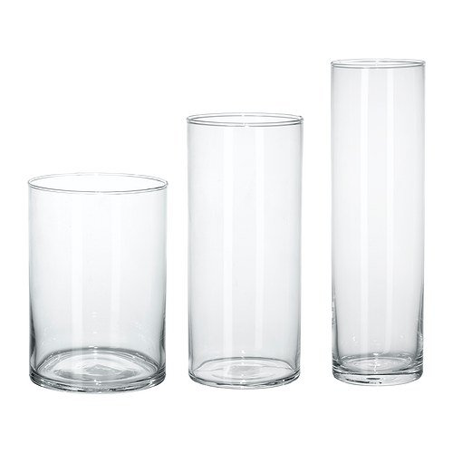 IKEA(イケア) CYLINDER 60175214 花瓶3点セット, クリアガラス