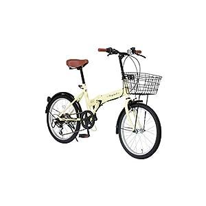 Raychell(レイチェル) 20インチ 折りたたみ 自転車 FB-206R シマノ6段変速 フロントLEDライト付 [メーカー保証1年] アイボリー
